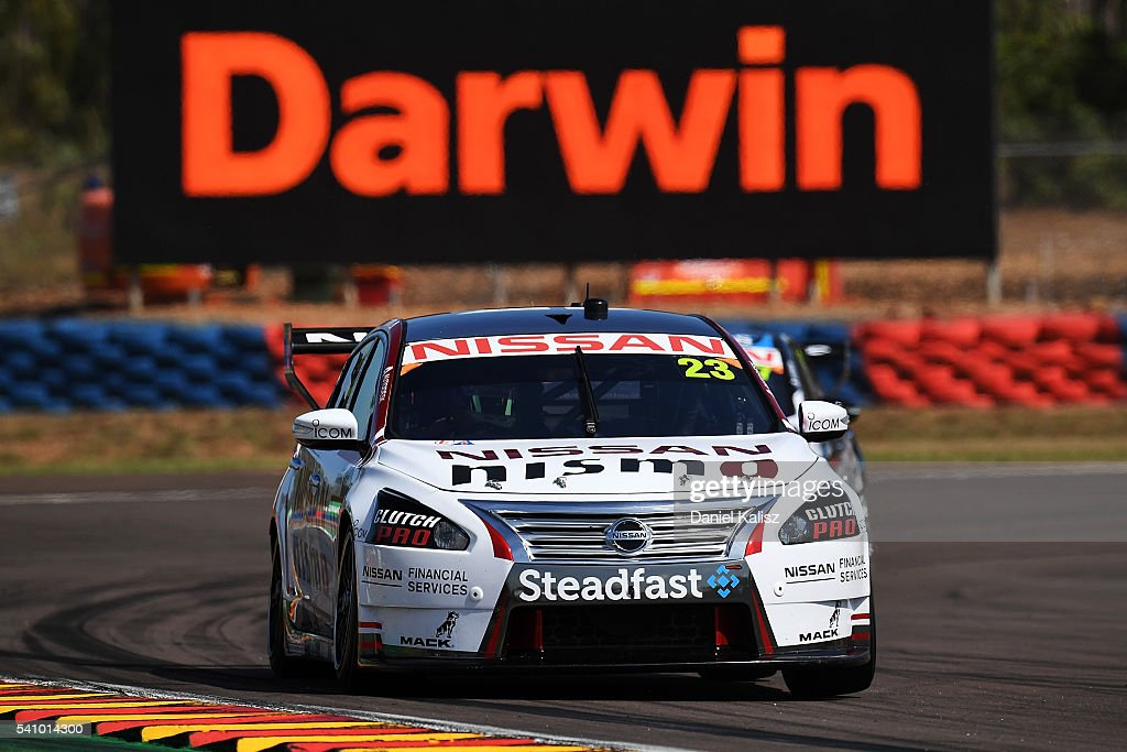 Michael Caruso drives the Nissan Motorsport Nissan Altima during V8 Supercars practice ahead of the Darwin Triple Crown at Hidden Valley Raceway on...