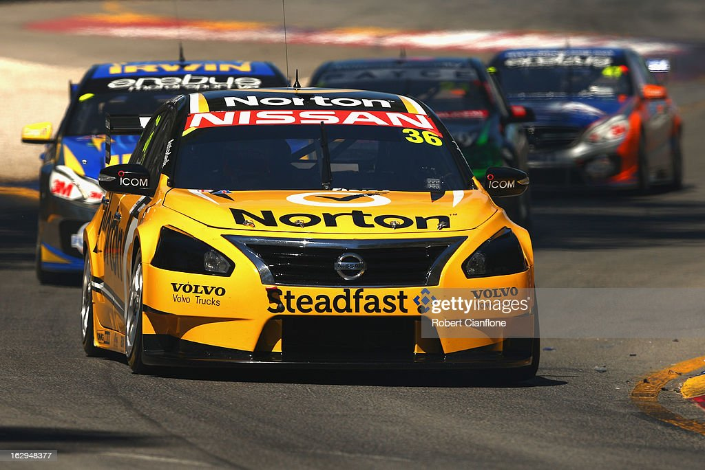 Michael Caruso drives the #36 Norton 360 Racing Nissan during race one of the Clipsal 500, which is round one of the V8 Supercar Championship Series, at the Adelaide Street Circuit on March 2, 2013 in Adelaide, Australia.