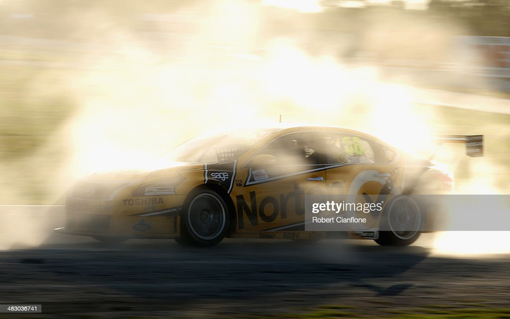 Michael Caruso drives the Norton Hornets Nissan during race 9 of the Winton 400 which is round three of the V8 Super Championship Series at Winton...