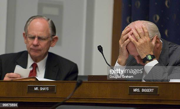 Michael Castle RDE and Christopher Shays RCT grind through paper work at the House Financial Services Committee full committee hearing on 'Oversight...