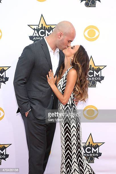 Michael Caussin and Jana Kramer attend the 50th Academy Of Country Music Awards at ATT Stadium on April 19 2015 in Arlington Texas
