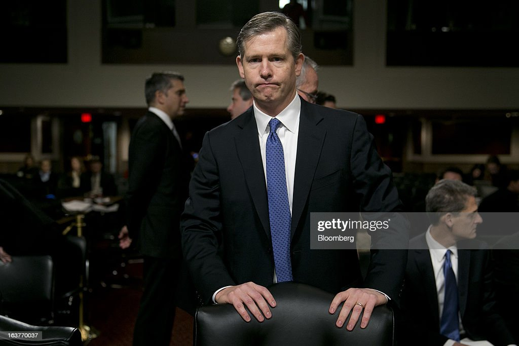 Michael Cavanagh, co-chief executive officer of corporate and investment bank with JPMorgan Chase & Co., arrives to a Senate Permanent Subcommittee on Investigations hearing in Washington, D.C., U.S., on Friday, March 15, 2013. JPMorgan Chase, the biggest U.S. bank by assets, compensated chief investment office traders in a way that encouraged risk-taking before the unit amassed losses exceeding $6.2 billion, a Senate committee said. Photographer: Andrew Harrer/Bloomberg via Getty Images