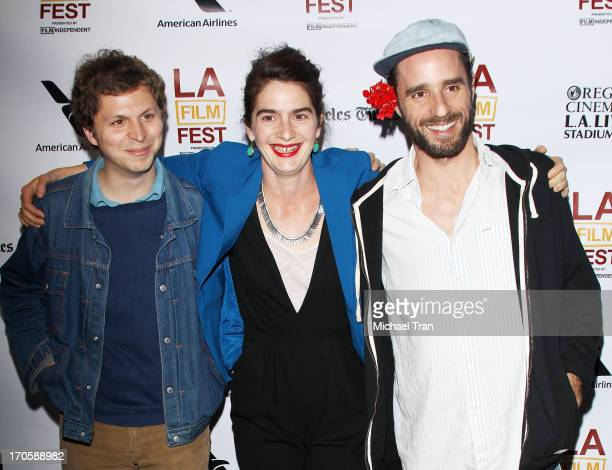 Michael Cera Gaby Hoffmann and Sebastian Silva arrive at the 2013 Los Angeles Film Festival 'Crystal Fairy' premiere held at Regal Cinemas LA LIVE...