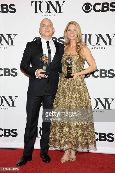 Michael Cerveris and Kelli O'Hara pose in the press room during the American Theatre Wing's 69th Annual Tony Awards at Radio City Music Hall on June...