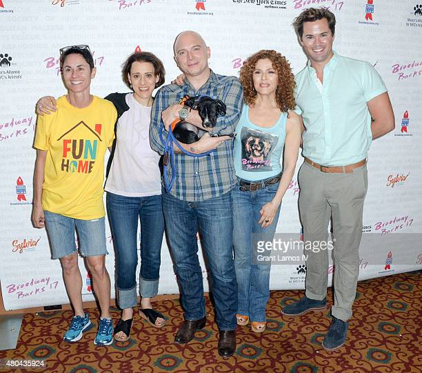 Michael Cerveris Bernadette Peters and Andrew Rannells and the cast of Fun Home attend the 17th Annual Broadway Barks Animal Adoption Celebration at...