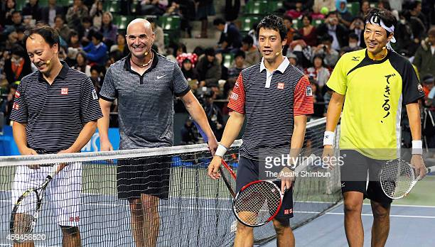 Michael Chang Andre Agassi Kei Nishikori and Shuzo Matsuoka attend the Dream Tennis exhibition match at Ariake Colosseum on November 22 2014 in Tokyo...