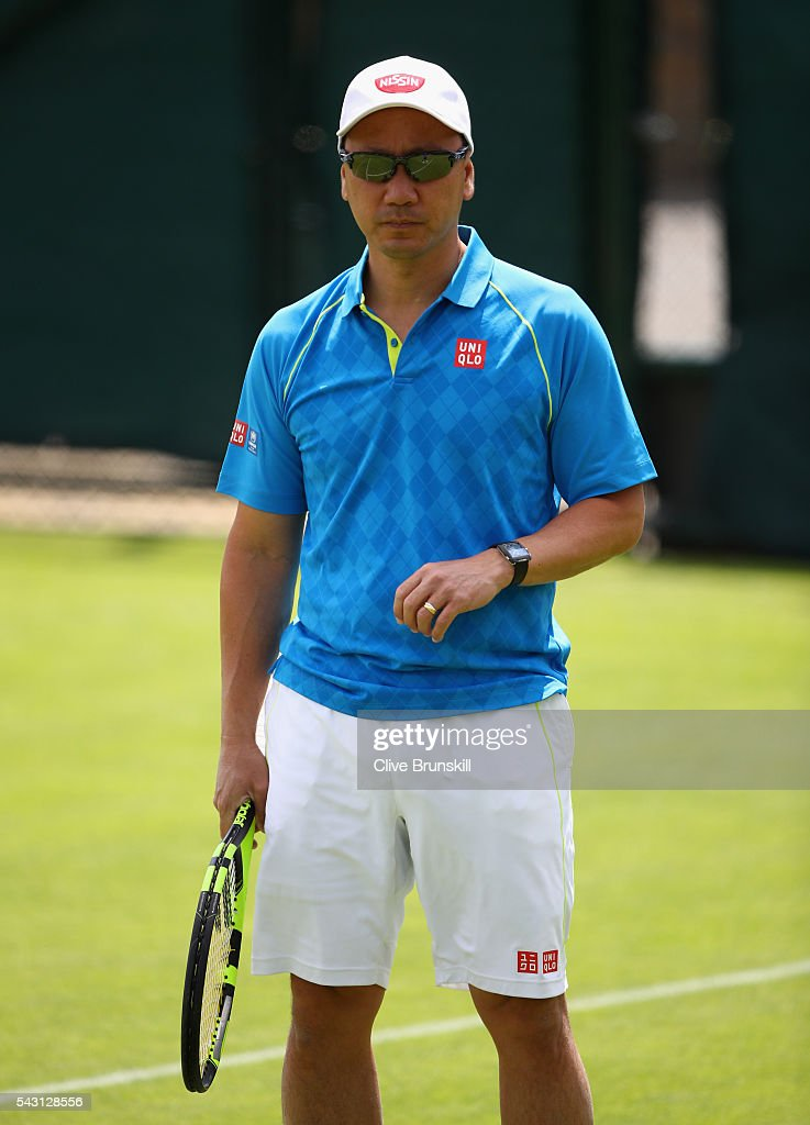 <a gi-track='captionPersonalityLinkClicked' href=/galleries/search?phrase=Michael+Chang&family=editorial&specificpeople=206264 ng-click='$event.stopPropagation()'>Michael Chang</a> coach of Kei Nishikori of Japan during a practice session prior to the Wimbledon Lawn Tennis Championships at the All England Lawn Tennis and Croquet Club on June 26, 2016 in London, England.