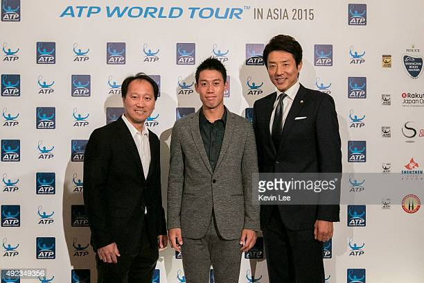 Michael Chang Kei Nishikori and Shuzo Matsuoka pose for a picture at ATP World Tour in Asia 2015 on October 12 2015 in Shanghai China