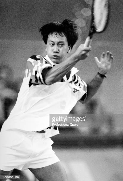 Michael Chang of the United States in action during the Grand Slam Cup held at the Olympiahalle in Munich Germany circa 1994