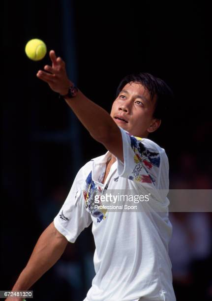 Michael Chang of the USA in action at Wimbledon circa June 1993 Chang was defeated in the third round by David Wheaton of the USA in five sets