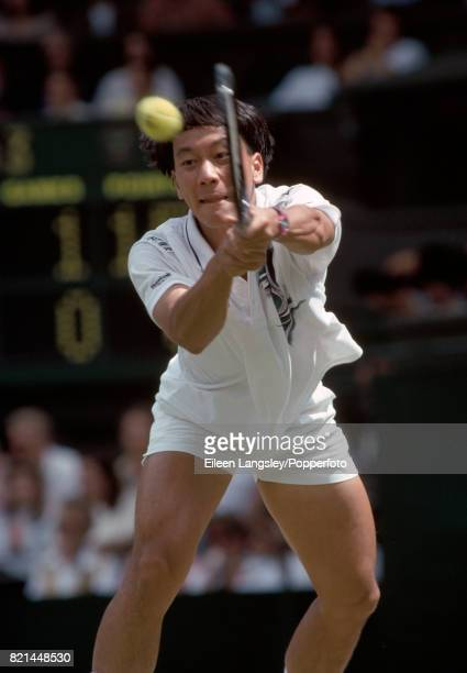 Michael Chang of the USA in action during a men's singles match during the Wimbledon Lawn Tennis Championships in London circa July 1994 Chang was...