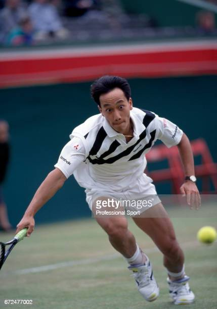 Michael Chang of the USA in action during the Stella Artois Tennis Championships at the Queen's Club in London circa June 1991 Chang was defeated in...