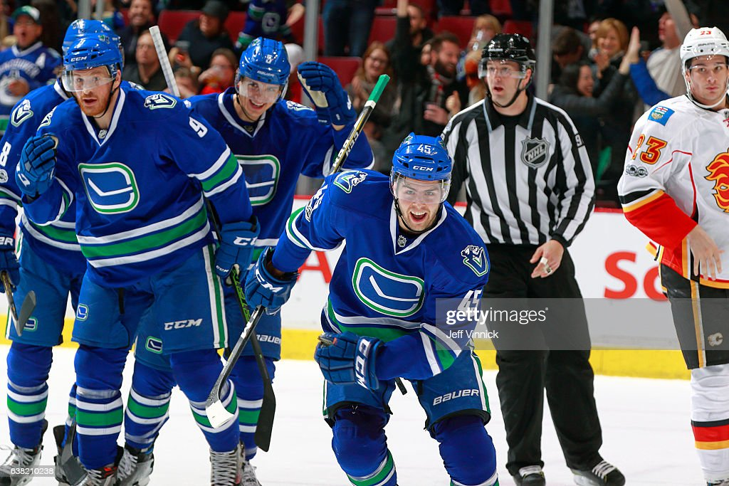 Michael Chaput #45 of the Vancouver Canucks celebrates his first goal as a Canuck during their NHL game against the Calgary Flames at Rogers Arena January 6, 2017 in Vancouver, British Columbia, Canada. (Photo by Jeff Vinnick/NHLI via Getty Images)'n