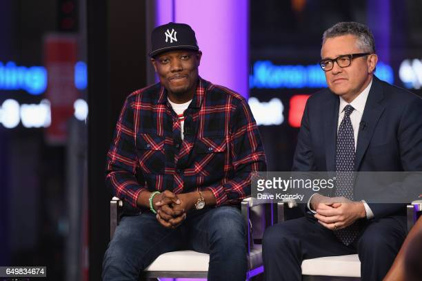 Michael Che and Jeffrey Toobin speak onstage during TIME AND PUNISHMENT A Town Hall Discussion with JAY Z and Harvey Weinstein on Spike TV at MTV...