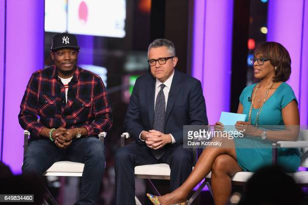 Michael Che Jeffrey Toobin and Gayle King speak onstage during TIME AND PUNISHMENT A Town Hall Discussion with JAY Z and Harvey Weinstein on Spike TV...