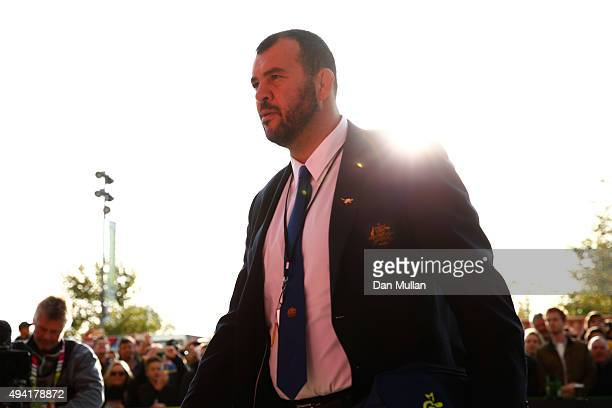 Michael Cheika Head Coach of Australia arrives for the 2015 Rugby World Cup Semi Final match between Argentina and Australia at Twickenham Stadium on...