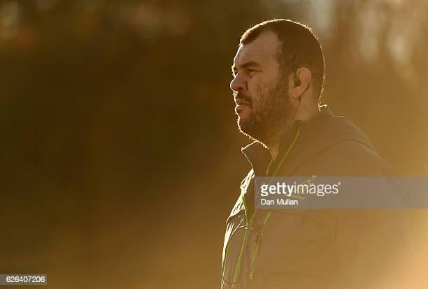 Michael Cheika Head Coach of Australia looks on during an Australia training session at Harrow School on November 29 2016 in London United Kingdom