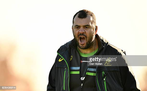 Michael Cheika Head Coach of Australia reacts during an Australia training session at Harrow School on November 29 2016 in London United Kingdom