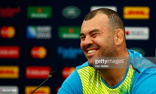 Michael Cheika Head Coach of Australia speaks to the media following the Australia Captain's Run ahead of the 2015 Rugby World Cup Pool A match...
