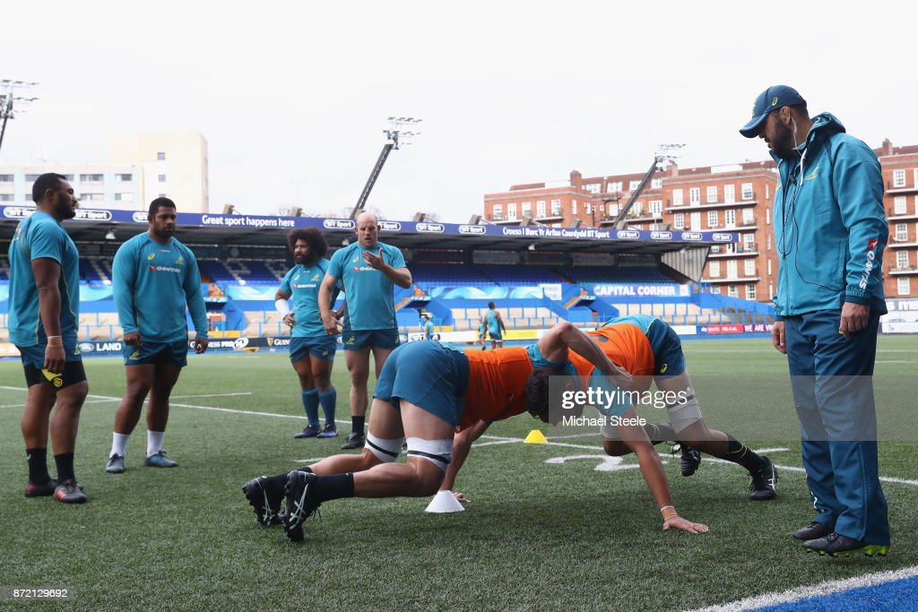 Michael Cheika the coach of Australia looks on during the Australia training session at Cardiff Arms Park on November 9, 2017 in Cardiff, Wales.