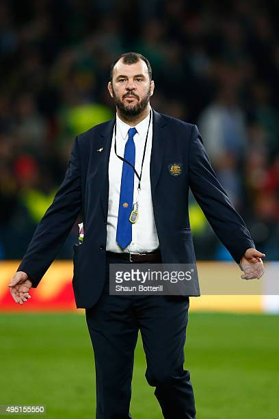 Michael Cheika the head coach of Australia following his team's defeat in the 2015 Rugby World Cup Final match between New Zealand and Australia at...
