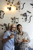 Michael Chernow and Daniel Holzman coowners of their new location of the Meatball Shop on Bedford Ave in Williamsburg Brooklyn They are in front of...