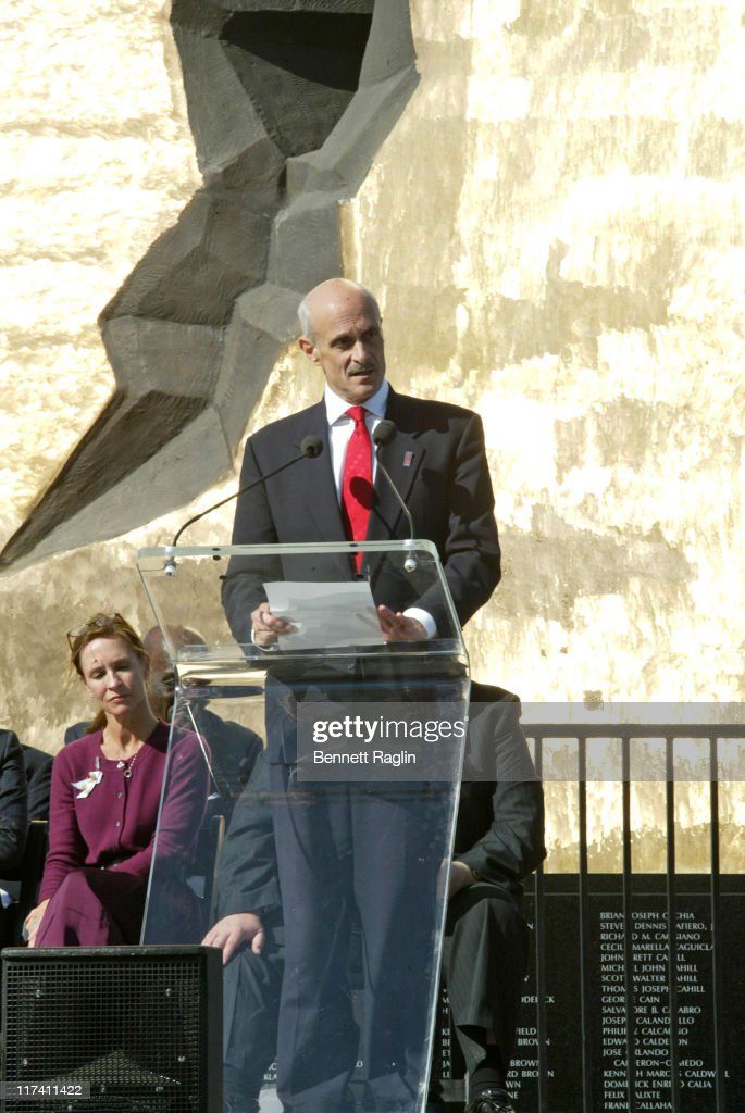 <a gi-track='captionPersonalityLinkClicked' href=/galleries/search?phrase=Michael+Chertoff&family=editorial&specificpeople=204729 ng-click='$event.stopPropagation()'>Michael Chertoff</a>, Secretary of Homeland Security addresses the gathering during the dedication ceremony of the sculpture 'To the Struggle Against World Terrorism' September 11, 2006