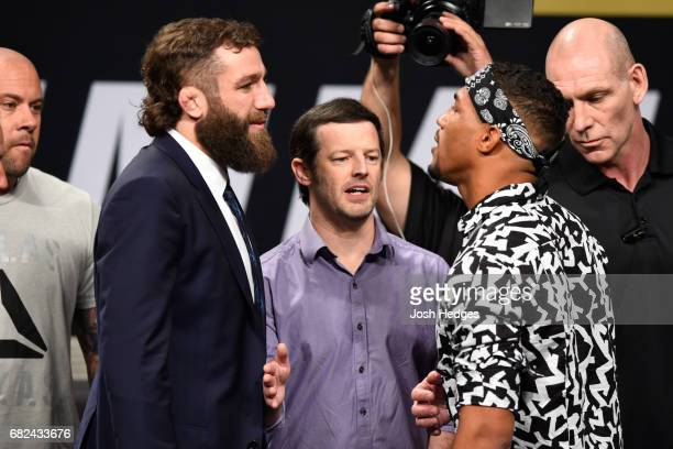 Michael Chiesa and Kevin Lee face off during the UFC Summer Kickoff Press Conference at the American Airlines Center on May 12 2017 in Dallas Texas
