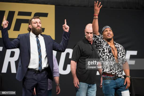Michael Chiesa faces off with Kevin Lee during the UFC Summer Kickoff Press Conference at the American Airlines Center on May 12 2017 in Dallas Texas