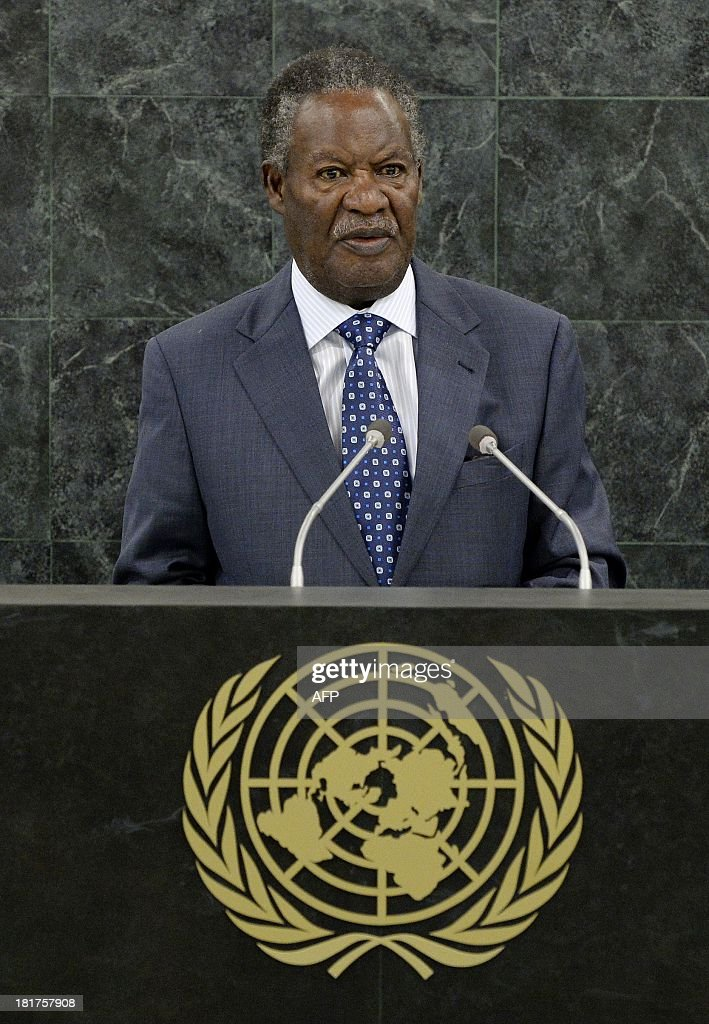 Michael Chilufya Sata, President of Zambia, speaks during the 68th Session of the United Nations General Assembly September 24, 2013 at UN headquarters in New York. AFP PHOTO / POOL / Justin LANE