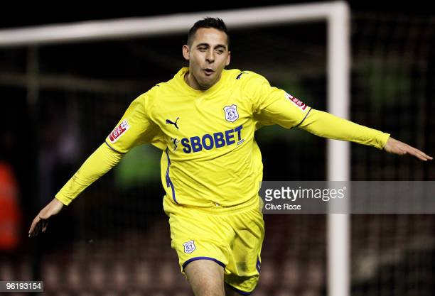 Michael Chopra of Cardiff City celebrates his second goal during the CocaCola Championship match between Bristol City and Cardiff City at Ashton Gate...