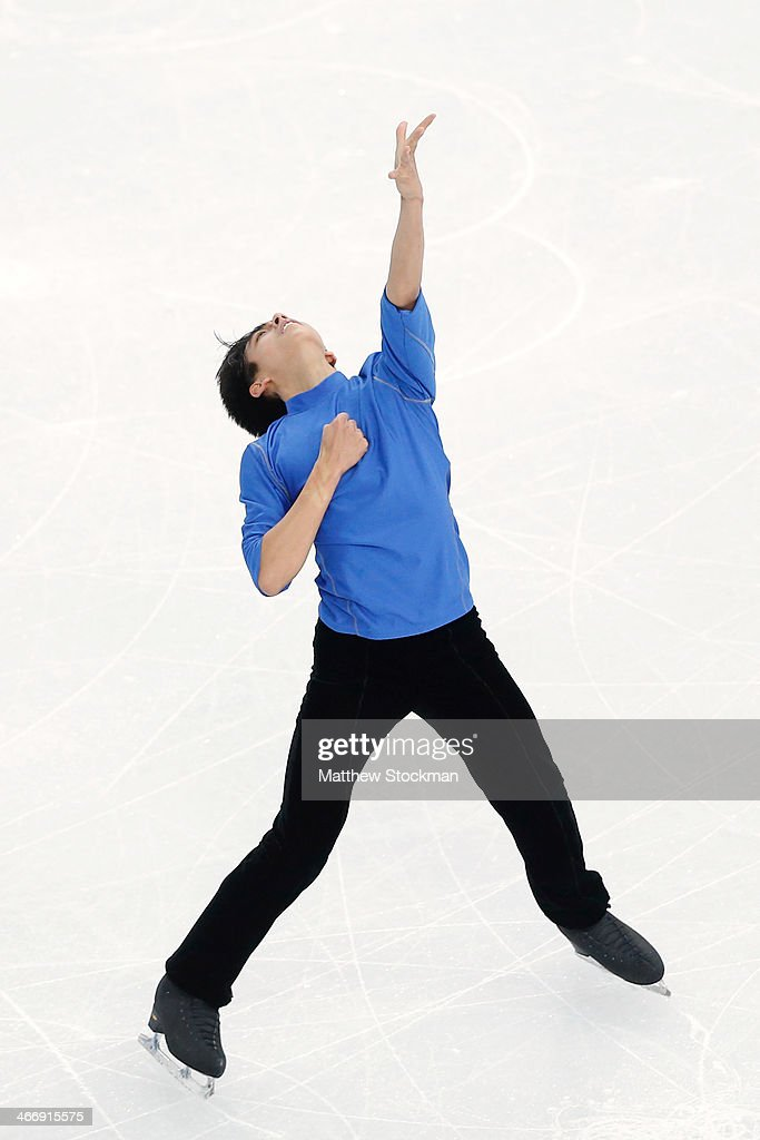Michael Christian Martinez of the Philippines practices ahead of the Sochi 2014 Winter Olympics at the Iceberg Skating Palace on February 5 2014 in...