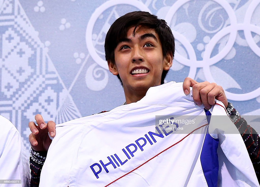 Michael Christian Martinez of the Philippines reacts after he competes during the Figure Skating Men's Free Skating on day seven of the Sochi 2014...