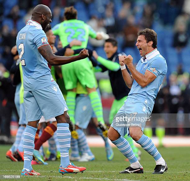 Michael Ciani and Lorik Cana of Lazio celebrate the vicory after the TIM cup final match between AS Roma v SS Lazio at Stadio Olimpico on May 26 2013...