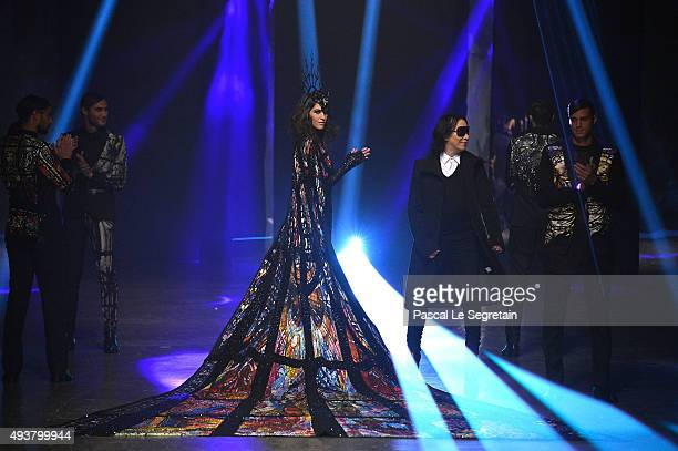 Michael Cinco walks the runway after his show during Dubai Fashion Forward Spring/Summer 2016 at Madinat Jumeirah on October 22 2015 in Dubai United...