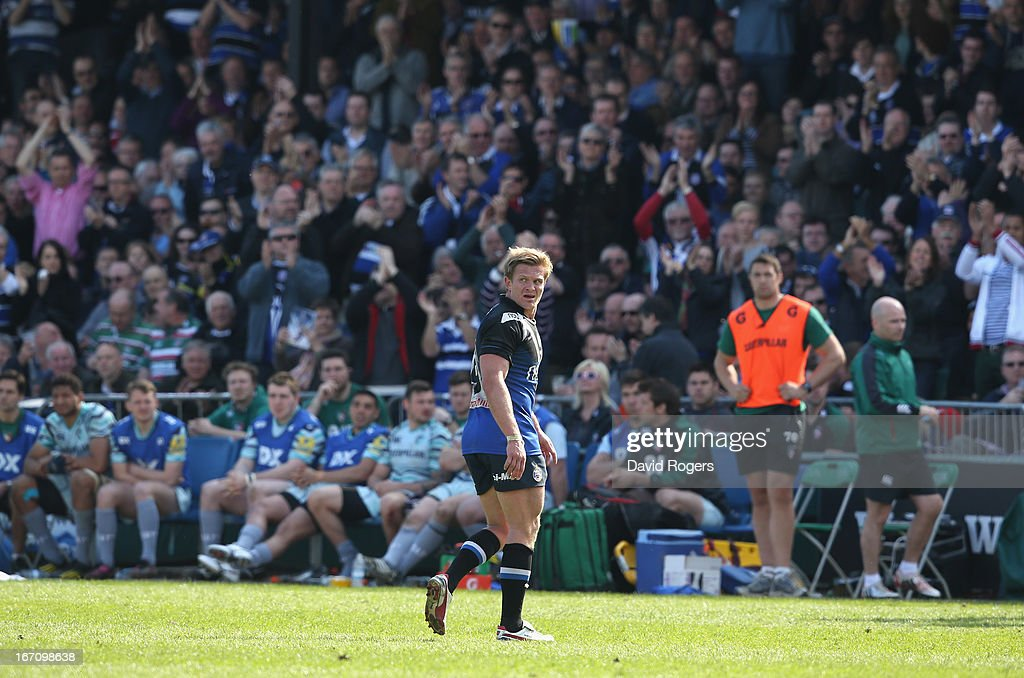 Michael Claassens of Bath walks off the pitch after playing his last home match during the Aviva Premiership match between Bath and Leicester Tigers at the Recreation Ground on April 20, 2013 in Bath, England.