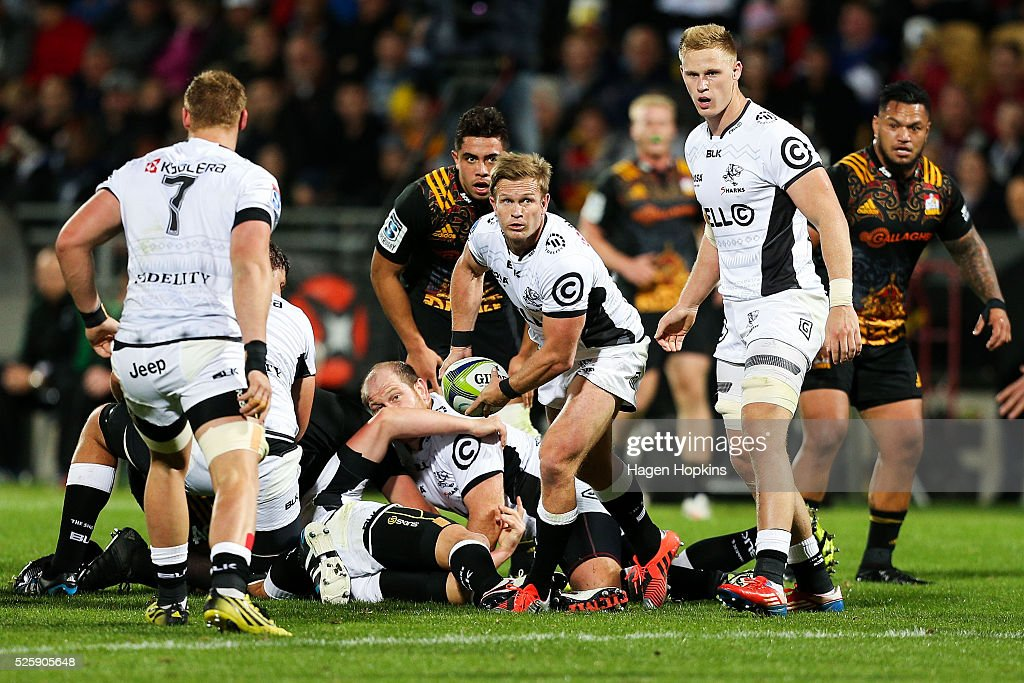 Michael Claassens of the Sharks looks to pass during the round 10 Super Rugby match between the Chiefs and the Sharks at Yarrow Stadium on April 29, 2016 in New Plymouth, New Zealand.