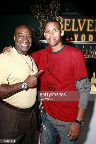Michael Clark Duncan and Reggie Miller during Maria Menounos Birthday Party Hosted by Belvedere Vodka at Private Home in Los Angeles CA United States