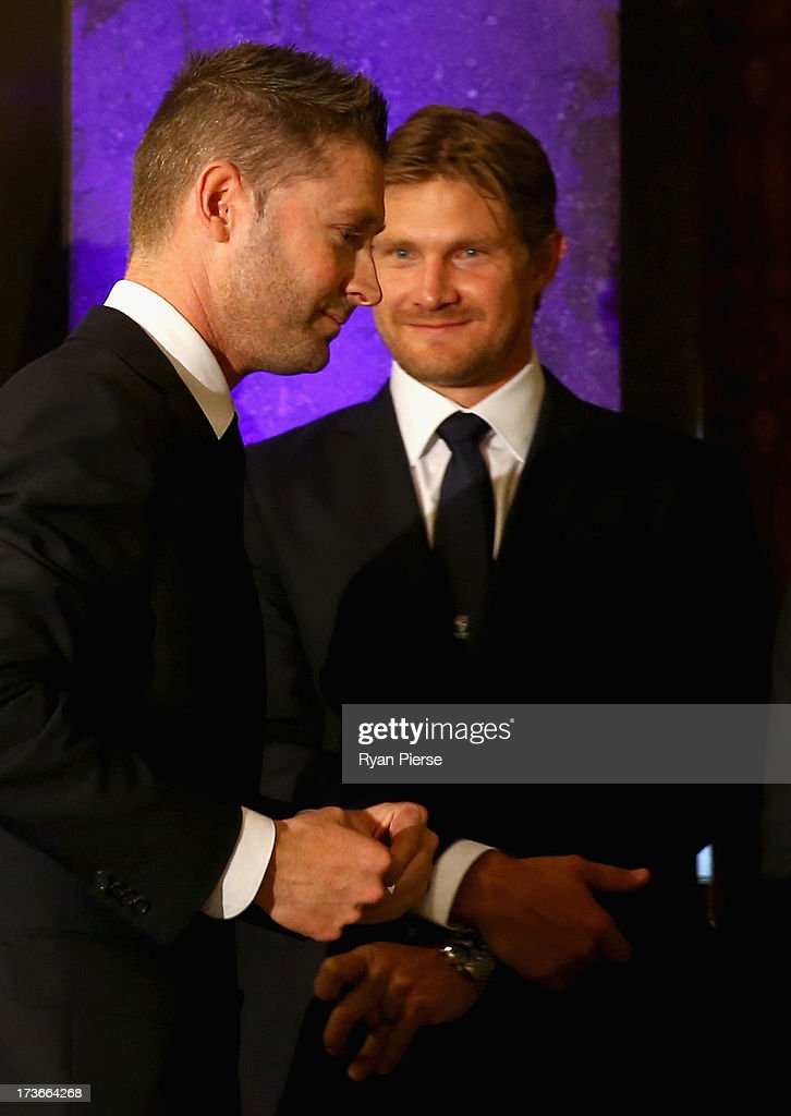 Michael Clarke and <a gi-track='captionPersonalityLinkClicked' href=/galleries/search?phrase=Shane+Watson+-+Cricket+Player&family=editorial&specificpeople=171874 ng-click='$event.stopPropagation()'>Shane Watson</a> of Australia look on during the Australian Cricket Team visit to the Australian High Commision on July 16, 2013 in London, England.