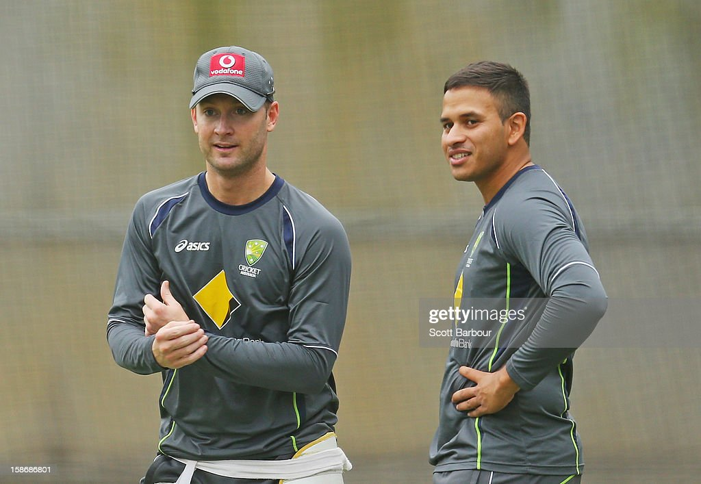 Michael Clarke and <a gi-track='captionPersonalityLinkClicked' href=/galleries/search?phrase=Usman+Khawaja&family=editorial&specificpeople=4953179 ng-click='$event.stopPropagation()'>Usman Khawaja</a> of Australia look on during an Australian training session at the Melbourne Cricket Ground on December 24, 2012 in Melbourne, Australia.
