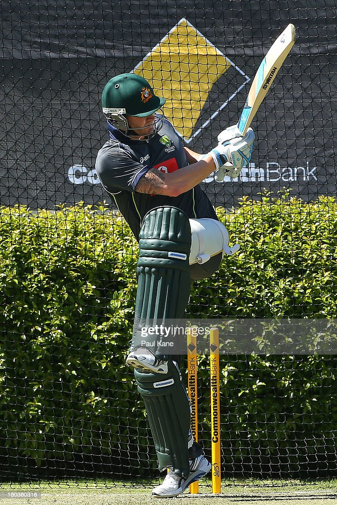 Michael Clarke bats during an Australian One Day International training session at WACA on January 30, 2013 in Perth, Australia.