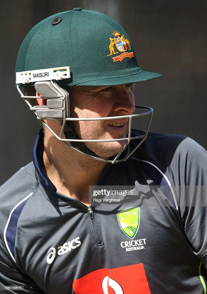 Michael Clarke bats during an Australian training session at Adelaide Oval on November 20, 2012 in Adelaide, Australia.