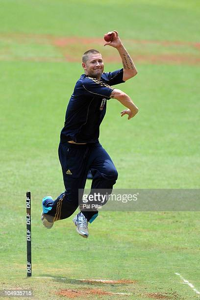 Michael Clarke bowls during an Australian nets session at M Chinnaswamy Stadium on October 7 2010 in Bangalore India