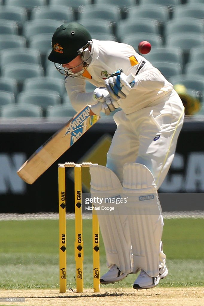 <a gi-track='captionPersonalityLinkClicked' href=/galleries/search?phrase=Michael+Clarke+-+Cricket+Player&family=editorial&specificpeople=175853 ng-click='$event.stopPropagation()'>Michael Clarke</a> ducks a bouncer off his his bowl faced off Varun Aaron of day one of the First Test match between Australia and India at Adelaide Oval on December 9, 2014 in Adelaide, Australia.