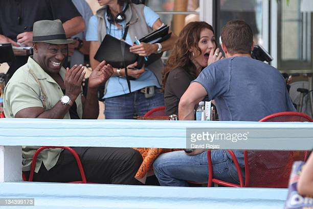 Michael Clarke Duncan Saffron Burrows and Geoff Stults filming on location for 'The Finder' pilot on February 24 2011 in Miami Florida