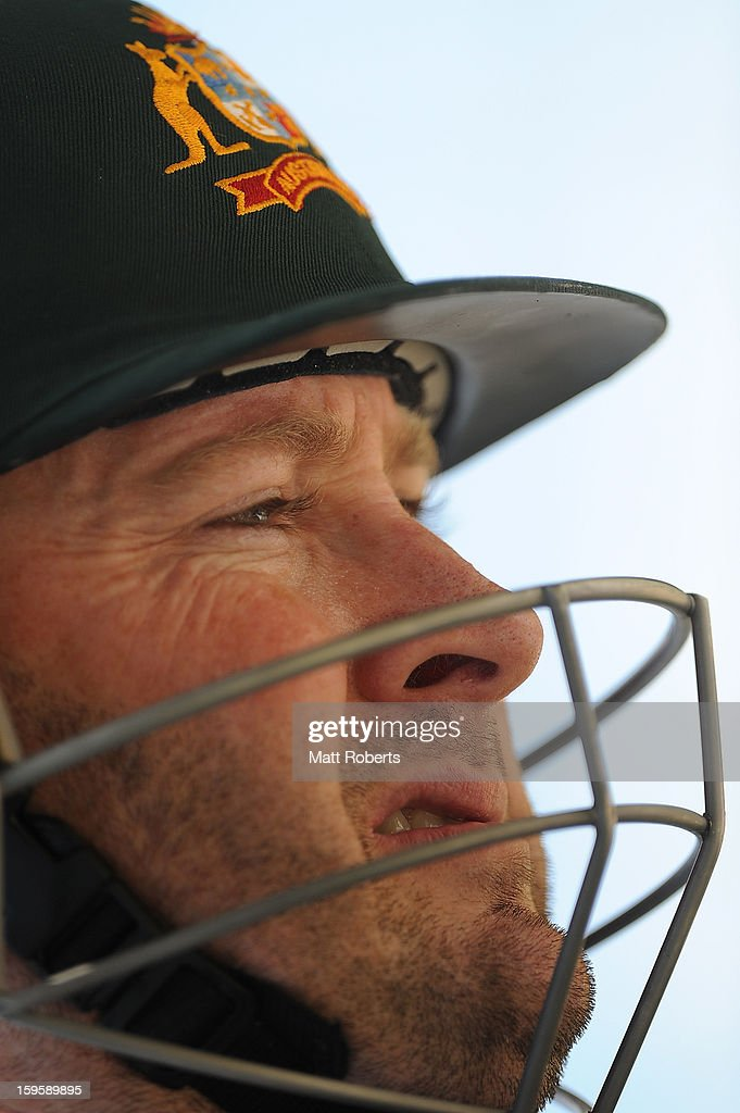 <a gi-track='captionPersonalityLinkClicked' href=/galleries/search?phrase=Michael+Clarke+-+Cricket+Player&family=editorial&specificpeople=175853 ng-click='$event.stopPropagation()'>Michael Clarke</a> looks on during an Australian training session at The Gabba on January 17, 2013 in Brisbane, Australia.
