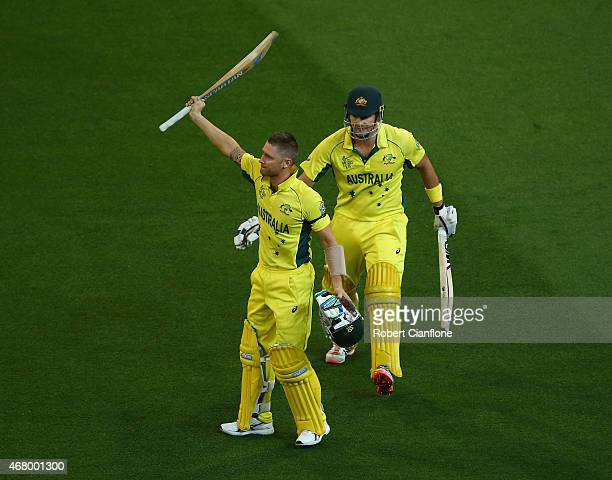 Michael Clarke of Australia acknowledges the crowd after he was dismissed during the 2015 ICC Cricket World Cup final match between Australia and New...