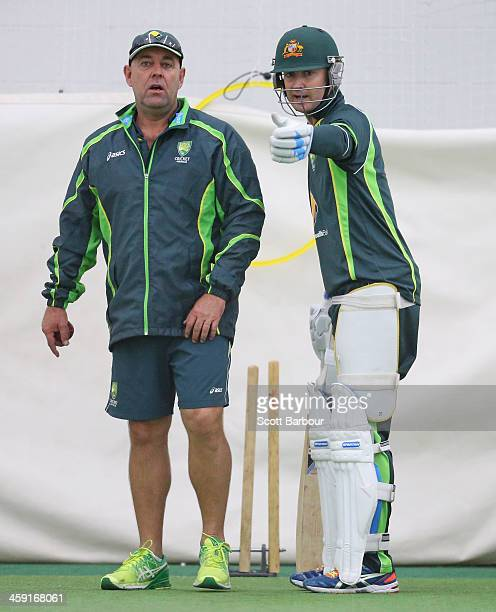 Michael Clarke of Australia and Darren Lehmann coach of Australia talk during an Australian nets session at the Melbourne Cricket Ground on December...