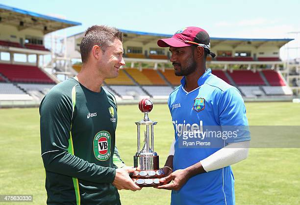 Michael Clarke of Australia and Denesh Ramdin of West Indies pose with the Frank Worrell Trophy before an Australian nets session at Windsor Park on...