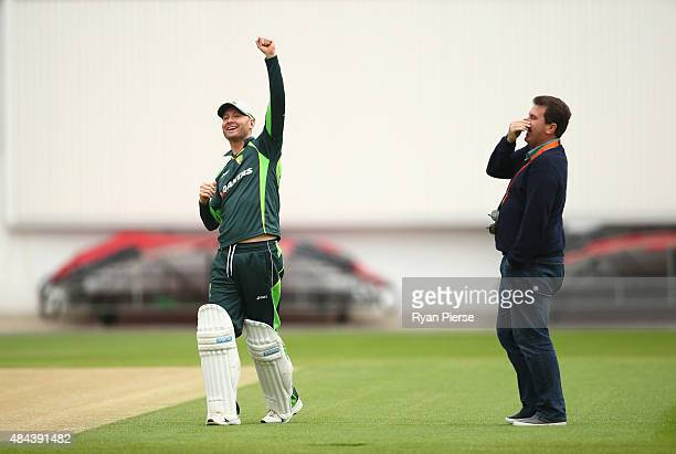 Michael Clarke of Australia and former Australian Captain Mark Taylor talk during a nets session ahead of the 5th Investec Ashes Test match between...